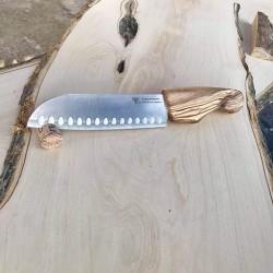 Couteau lame japonaise manche en olivier - Grand modèle